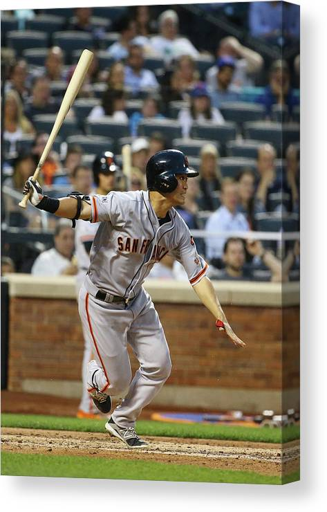 People Canvas Print featuring the photograph San Francisco Giants V New York Mets by Al Bello