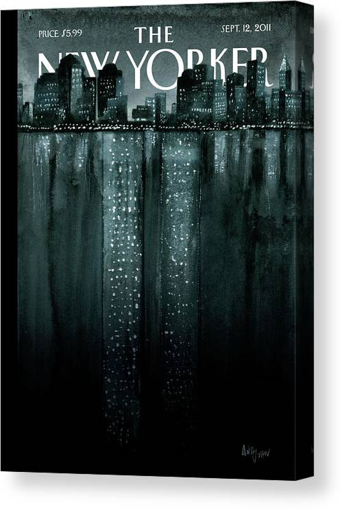 Trade Center Canvas Print featuring the painting New Yorker September 12th, 2011 by Ana Juan