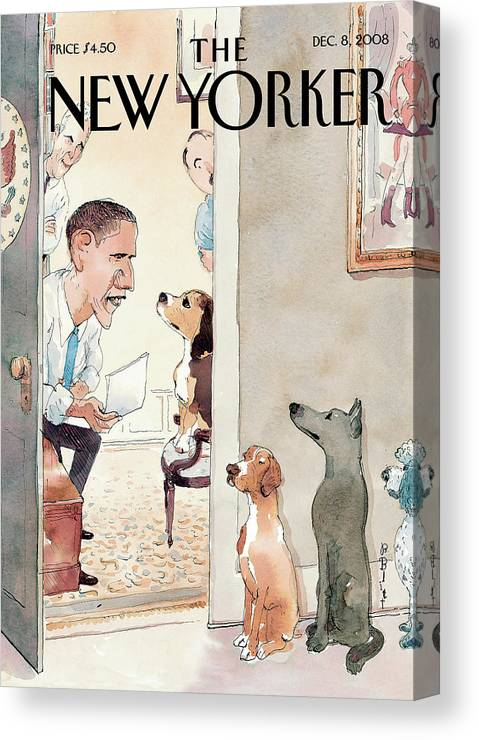 Obama Canvas Print featuring the painting Vetting by Barry Blitt
