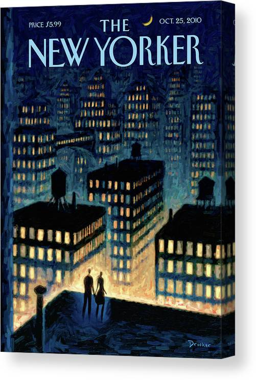 Twilight Canvas Print featuring the painting New Yorker October 25th, 2010 by Eric Drooker