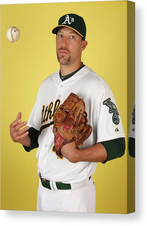 Media Day Canvas Print featuring the photograph Oakland Athletics Photo Day by Christian Petersen