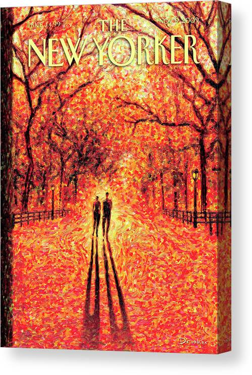 Nature Canvas Print featuring the painting Autumn In Central Park by Eric Drooker