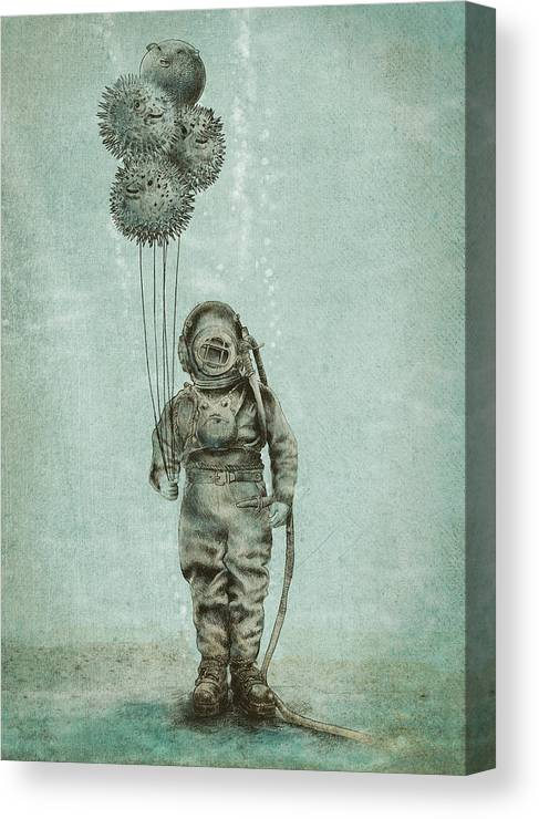 Ocean Canvas Print featuring the drawing Balloon Fish by Eric Fan