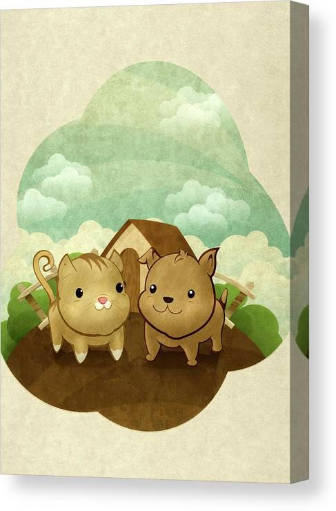 Pets Canvas Print featuring the digital art Bichos by Por Caio Ramos
