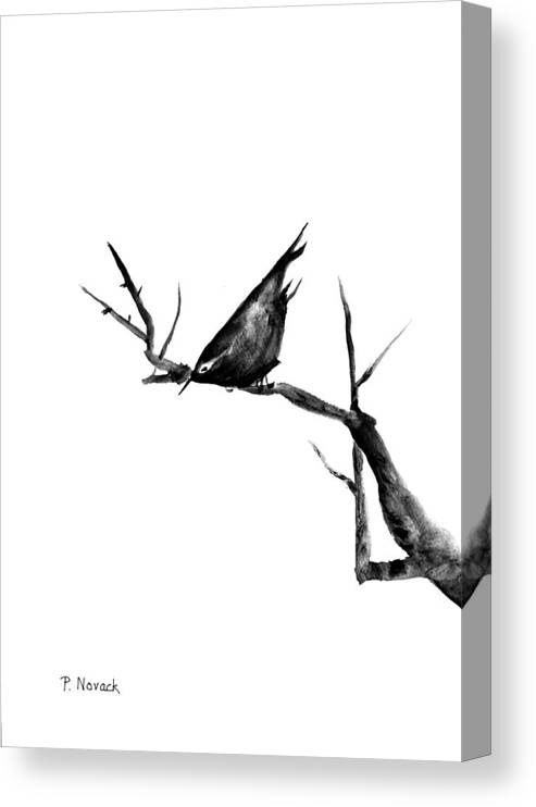 Bird Canvas Print featuring the painting Black Bird On A Branch by Patricia Novack