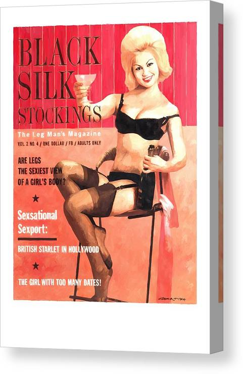 Black Silk Magazine Canvas Print featuring the digital art Black Silk - Vintage Magazine Covers Series by Gabriel T Toro