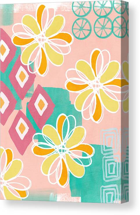 Pink Canvas Print featuring the painting Boho Floral Garden by Linda Woods