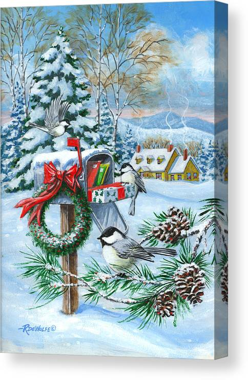 Mail Canvas Print featuring the painting Christmas Mail by Richard De Wolfe