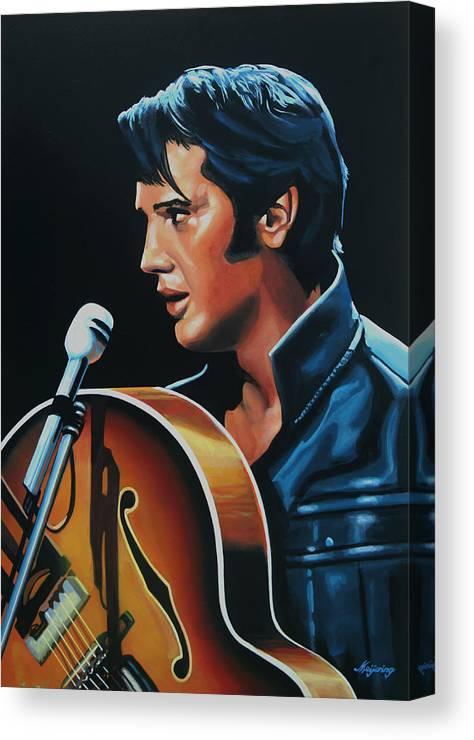 Elvis Canvas Print featuring the painting Elvis Presley 3 Painting by Paul Meijering
