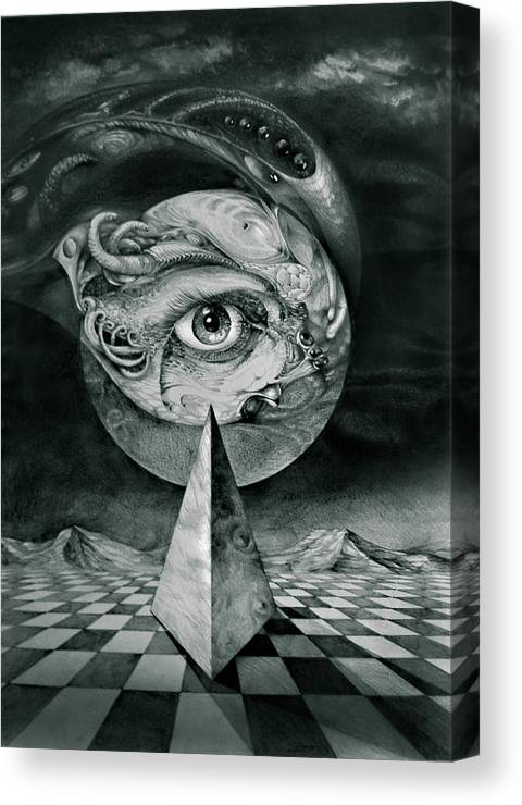 otto Rapp Surrealism Canvas Print featuring the drawing Eye Of The Dark Star by Otto Rapp