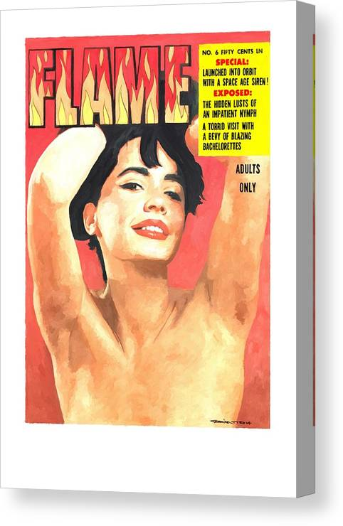 Flame Canvas Print featuring the digital art Flame - Vintage Magazines Covers Series by Gabriel T Toro