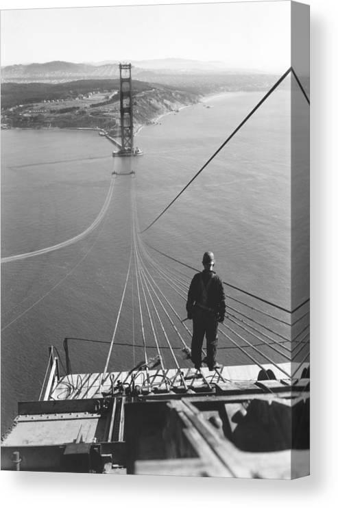 1 Person Canvas Print featuring the photograph Golden Gate Bridge Cables by Underwood Archives