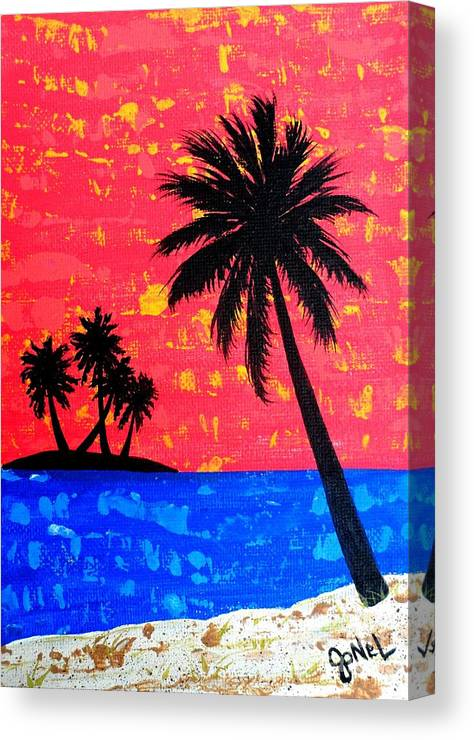 Island Canvas Print featuring the painting Island Seascape -Coral by JoNeL Art