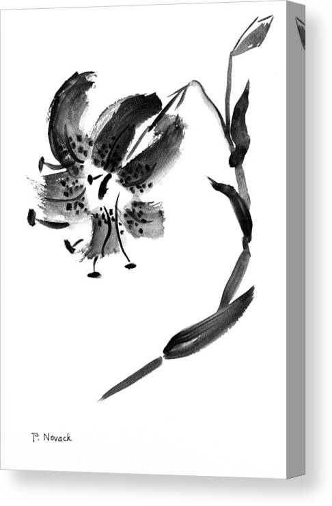 Lily Canvas Print featuring the painting Lily In Black by Patricia Novack