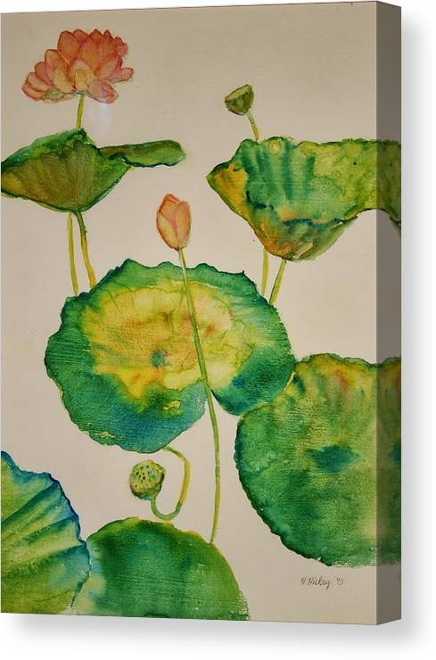 Canvas Print featuring the painting Lilypads 1 by Helen Hickey