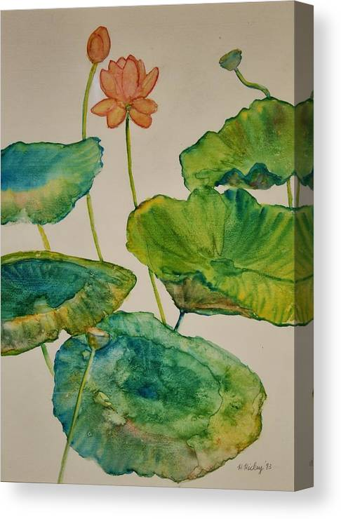 Canvas Print featuring the painting Lilypads 2 by Helen Hickey
