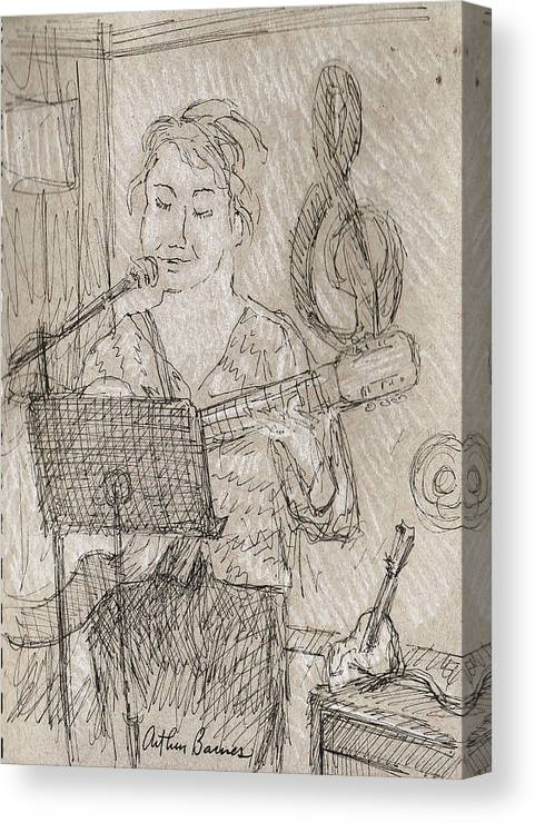 Music Canvas Print featuring the drawing Angelic by Arthur Barnes