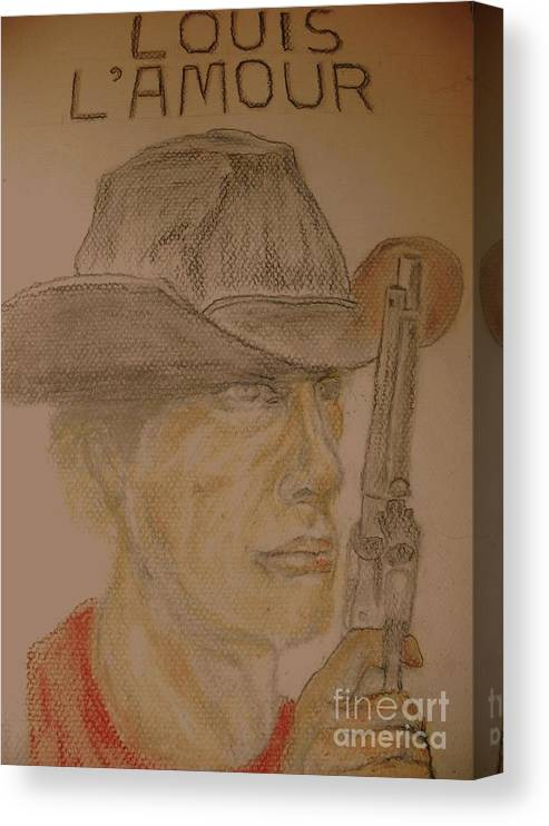 Cowboys Canvas Print featuring the pastel Louis L'Amour COWBOY by Nancy Caccioppo