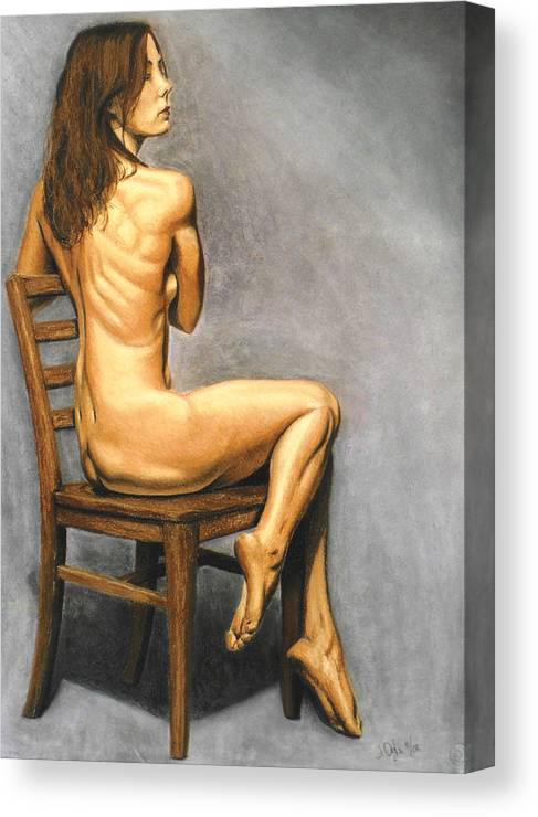 Joe Ogle Canvas Print featuring the pastel Madame Brooke by Joseph Ogle