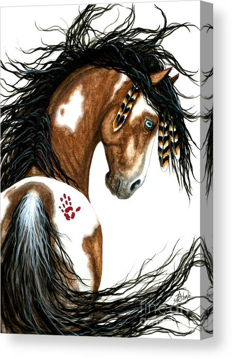 Majestic Wild Horses Native American Indian Bihrle Painted Pony Pinto Stallion Mm106 Canvas Print featuring the painting Majestic Horse #106 by AmyLyn Bihrle