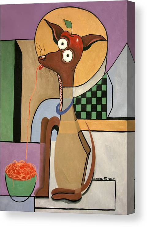 My Apple Head Chihuahua Canvas Print featuring the painting My Apple Head Chihuahua by Anthony Falbo