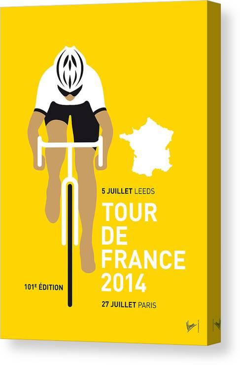Minimal Canvas Print featuring the digital art My Tour De France Minimal Poster 2014 by Chungkong Art