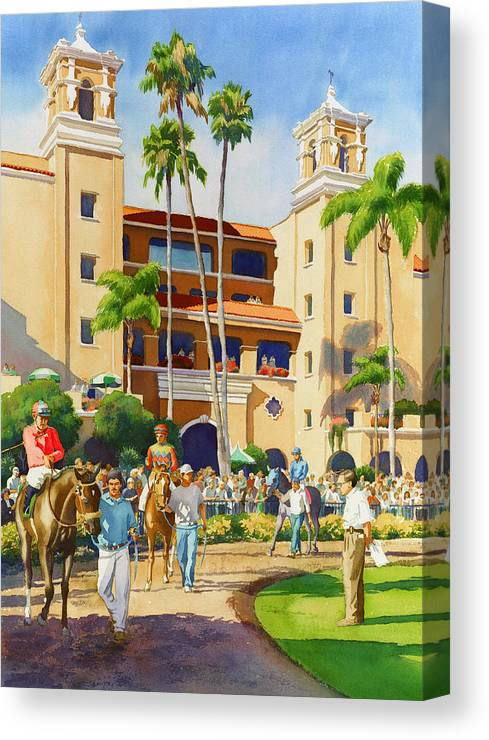 Paddock Canvas Print featuring the painting New Paddock at Del Mar by Mary Helmreich