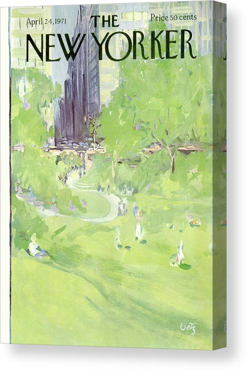 Urban Canvas Print featuring the painting New Yorker April 24th, 1971 by Arthur Getz