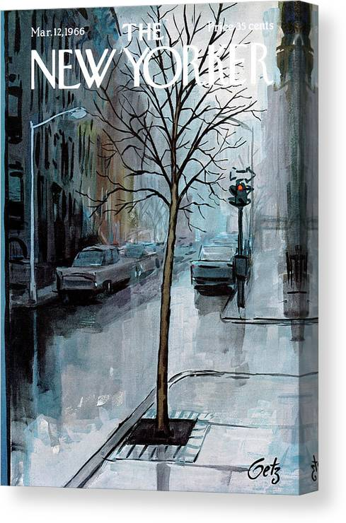 Rain Canvas Print featuring the painting New Yorker March 12th, 1966 by Arthur Getz