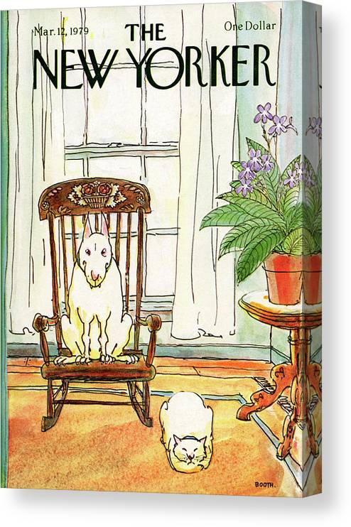 Animals Canvas Print featuring the painting New Yorker March 12th, 1979 by George Booth