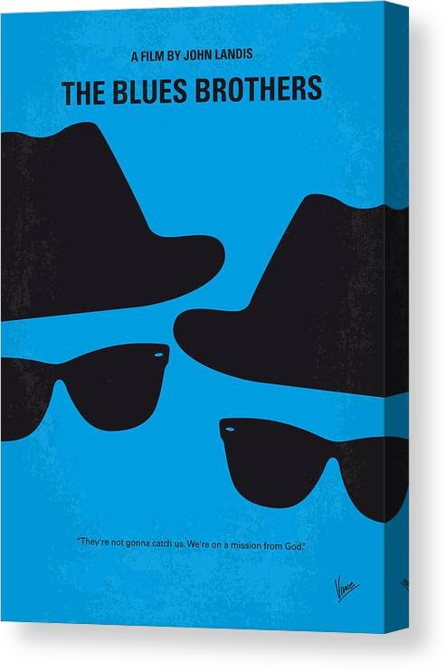 Blues Canvas Print featuring the digital art No012 My blues brother minimal movie poster by Chungkong Art