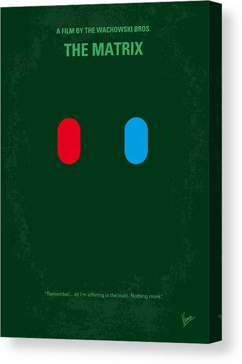 Matrix Canvas Print featuring the digital art No117 My Matrix Minimal Movie Poster by Chungkong Art