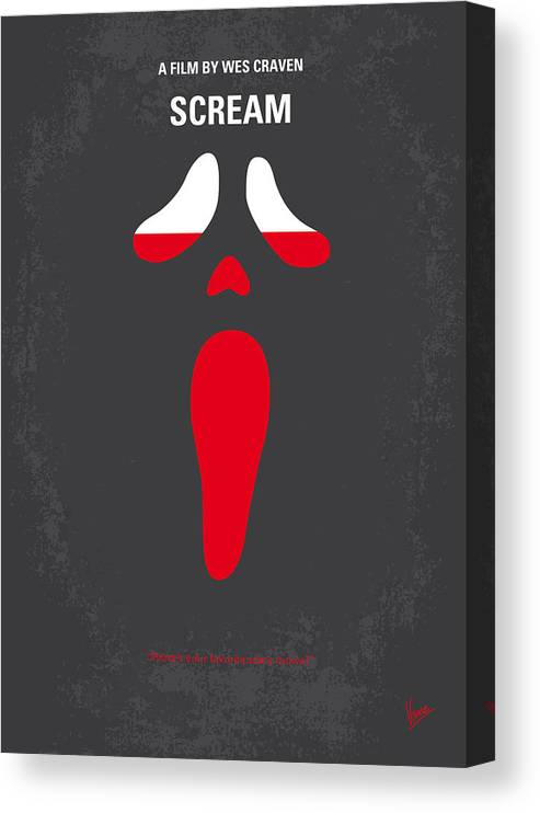 Scream Canvas Print featuring the digital art No121 My SCREAM minimal movie poster by Chungkong Art