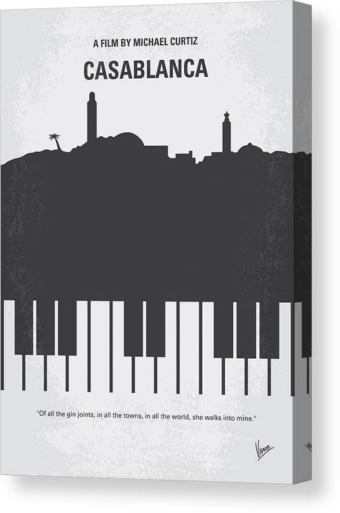 Casablanca Canvas Print featuring the digital art No192 My Casablanca Minimal Movie Poster by Chungkong Art