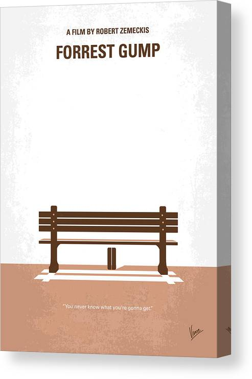 Forrest Canvas Print featuring the digital art No193 My Forrest Gump minimal movie poster by Chungkong Art