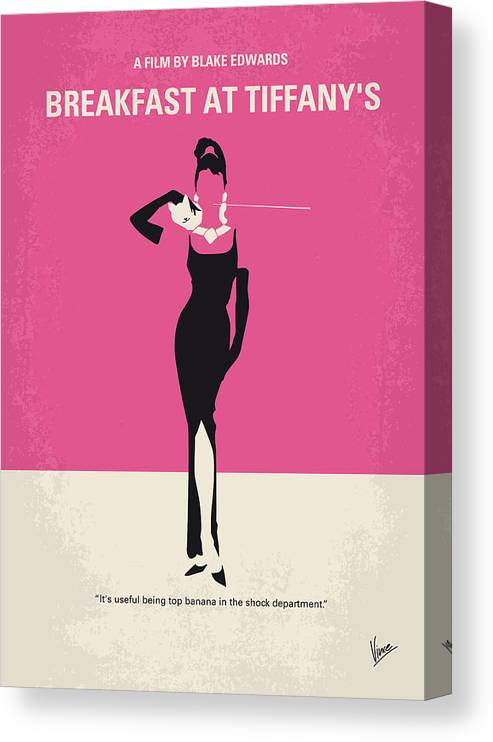 Breakfast Canvas Print featuring the digital art No204 My Breakfast at Tiffanys minimal movie poster by Chungkong Art