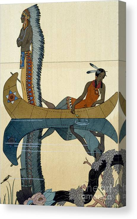 Le Long Du Missouri Canvas Print featuring the painting On the Missouri by Georges Barbier