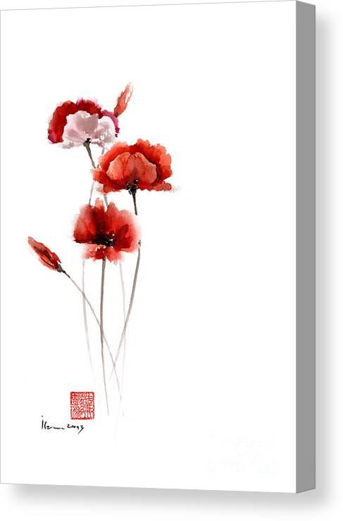 Poppies Flowers Pink Orange Red Poppy Flower Giclee Fine Art Print