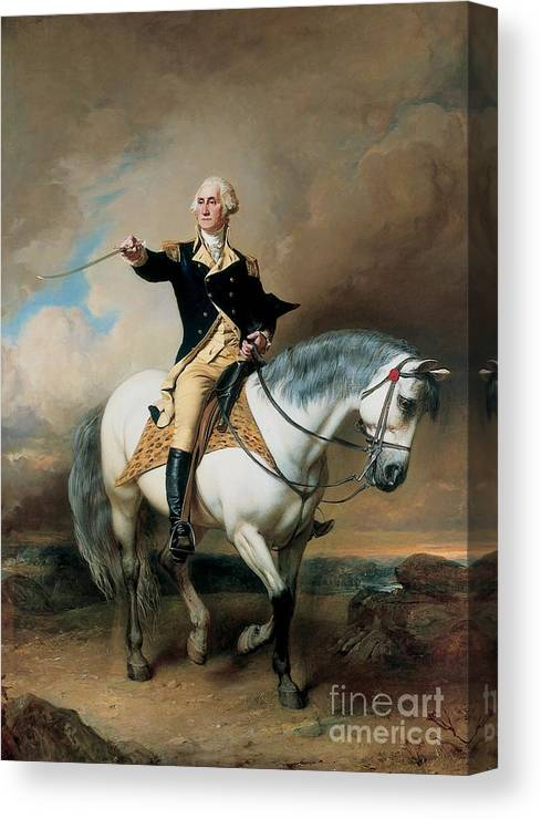 Portrait; War; Full Length; Equestrian; Salute; Saluting; Trenton; History; Historical; Heroic; Horse; Mounted; Horseback; Riding; Commander; Independence; President; Politician; Statesman; Us; Usa; United States; America; American; Leader; George Washington; Landscape; Sword; Uniform; Uniformed; Dramatic; Leadership; Strength; Power; 18th Canvas Print featuring the painting Portrait of George Washington Taking The Salute At Trenton by John Faed