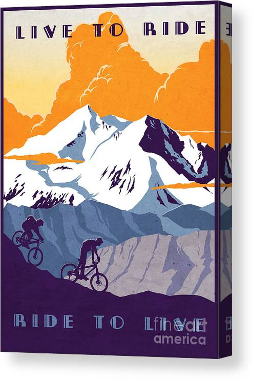 retro Cycling Poster Canvas Print featuring the painting retro cycling poster Live to Ride Ride to Live by Sassan Filsoof