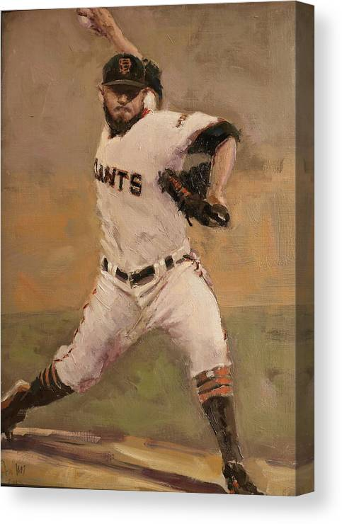 Sergio Romo Canvas Print featuring the painting Romo NLCS Save by Darren Kerr