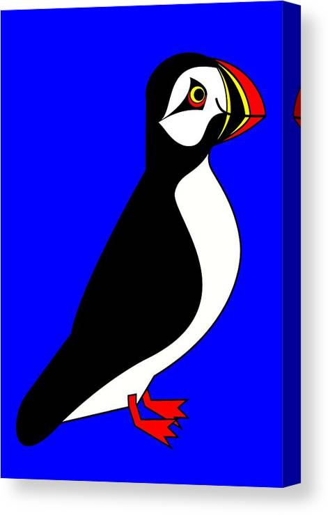 Arctic-puffin-sea-parrot Canvas Print featuring the digital art Sea-Parrot by Asbjorn Lonvig