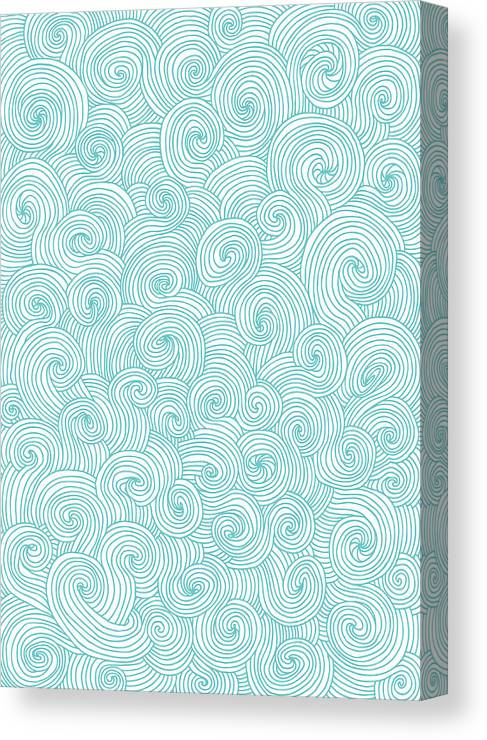 Curve Canvas Print featuring the digital art Seamless Pattern Of Doodle Swirls And by Beastfromeast