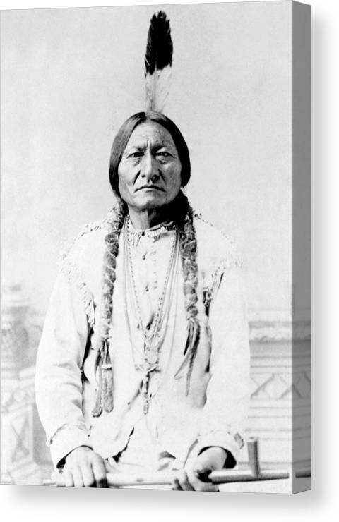 Native American Canvas Print featuring the photograph Sioux Chief Sitting Bull by War Is Hell Store