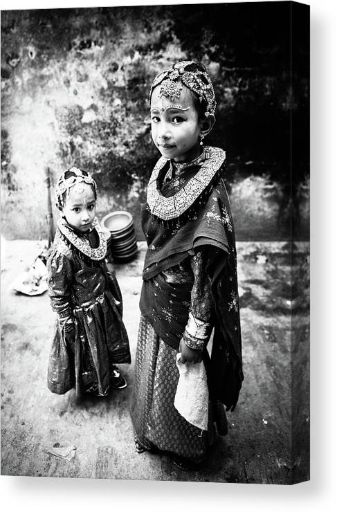 Documentary Canvas Print featuring the photograph Sisters In Nepal by Toru Matsunaga