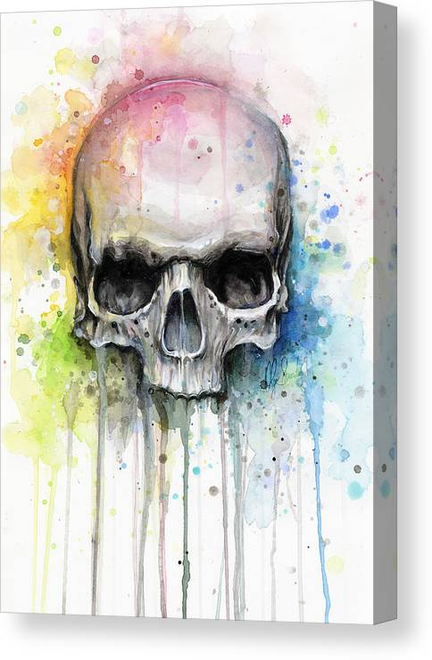 Skull Canvas Print featuring the painting Skull Watercolor Painting by Olga Shvartsur