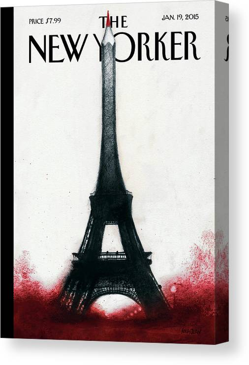 Charlie Hebdo Canvas Print featuring the painting Solidarite by Ana Juan