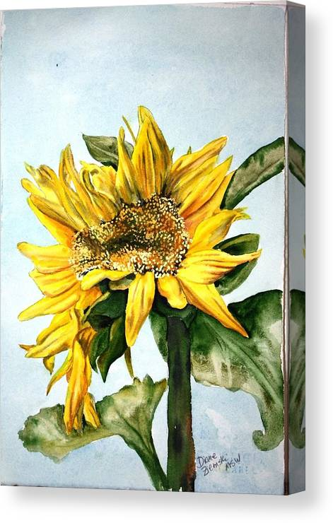 Canvas Print featuring the painting Sunflower 1 by Diane Ziemski