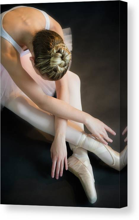 Ballet Dancer Canvas Print featuring the photograph Teenage 16-17 Ballerina Bending Over by Jamie Grill
