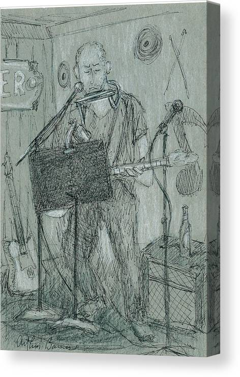 Musician Canvas Print featuring the drawing The Harp Player by Arthur Barnes